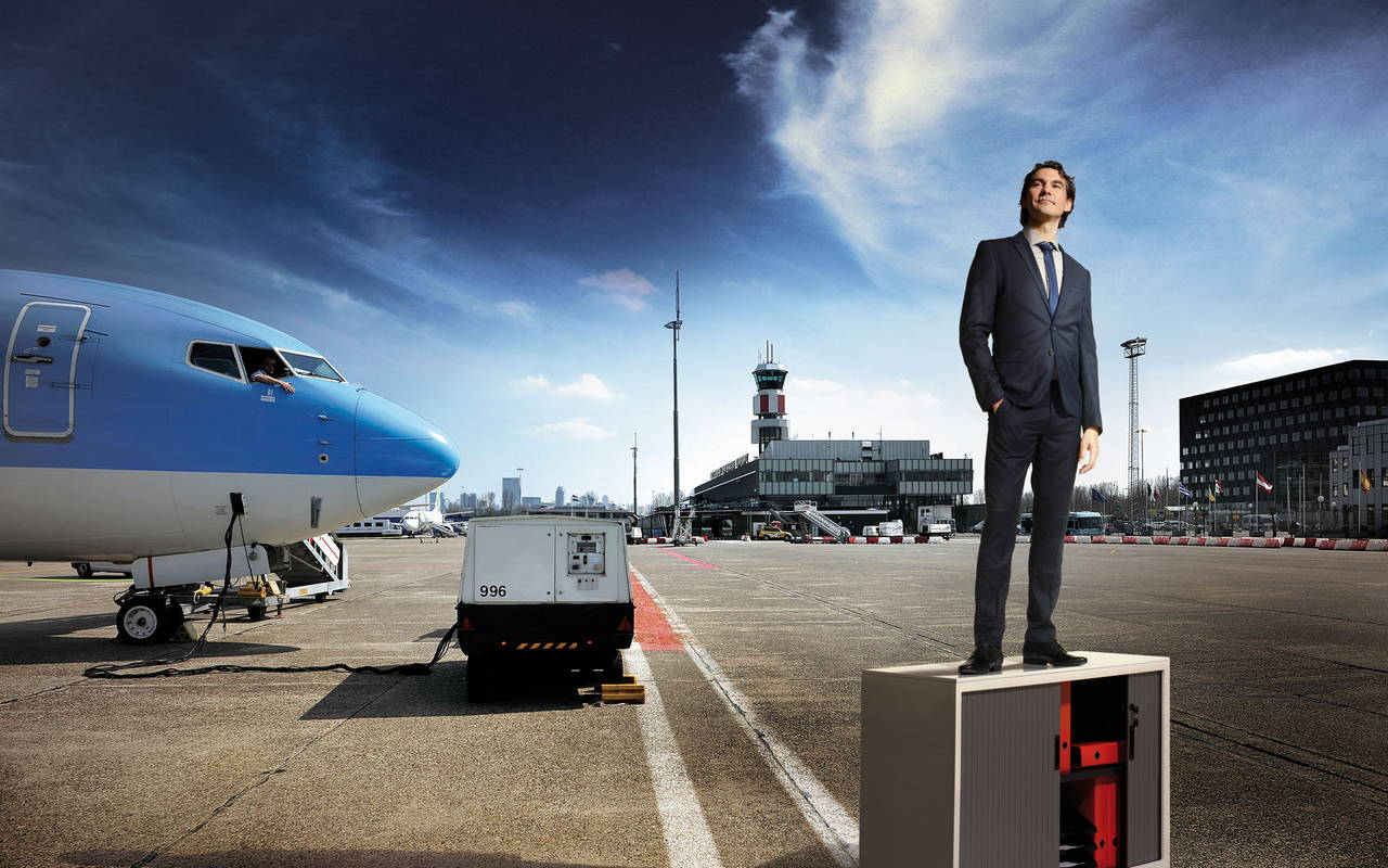 model Sebastian Hubner for Rotterdam The Hague Airport